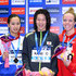 Kanako Watanabe Photos - Kanako Watanabe of Japan(Silver),Rie Kaneto of Japan(Gold) and Kierra Smith of Canada(Bronze) pose on the podium after the Women's 200m Breaststroke final during the FINA Swimming World Cup 2015 at Tokyo Tatsumi International Swimming Pool on October 29, 2015 in Tokyo, Japan. - FINA Swimming World Cup 2015 - Day 2