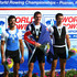(L-R) Vasileios Polymeros of Greece (Silver), Duncan Grant of New Zealand (Gold) and Mads Rasmussen of Denmark (Bronze) pose after the final of the Men's Lightweight Single Sculls during the World Rowing Championships on August 30, 2009 in Poznan, Poland.