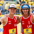 Janis Smedins Photos - Aleksandrs Samoilovs (L) and Janis Smedins of Latvia celebrate their victory after winning the gold medal match against Germany at Copacabana beach during day five of the FIVB Beach Volleyball World Tour Rio Open - Day 05, on September 06, 2015 in Rio de Janeiro, Brazil. - FIVB Beach Volleyball World Tour Rio Open - Day 5
