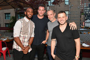 Athlete and designer Chris Paul, EMM Group co-founder Mark Birnbaum, David Heller and EMM Group co-founder Eugene Remm attend the FIVE FOUR x Chris Paul Launch Dinner at Catch on June 20, 2017 in New York City.