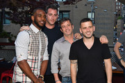 Athlete and designer Chris Paul, EMM Group co-founder Mark Birnbaum, David Barry and EMM Group co-founder Eugene Remm attend the FIVE FOUR x Chris Paul Launch Dinner at Catch on June 20, 2017 in New York City.