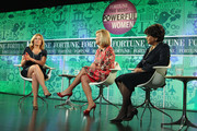 (L-R) Nina Easton, EVP & President Adecco Staffing U.S Joyce Russell and Baroness Shriti Vadera speak onstage at the FORTUNE Most Powerful Women Summit on October 16, 2013 in Washington, DC.