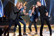 """(L-R) Recording artists Bucky Covington, Ace Young, Constantine Maroulis and Scotty McCreery perform onstage during FOX's """"American Idol"""" Finale For The Farewell Season at Dolby Theatre on April 7, 2016 in Hollywood, California. at Dolby Theatre on April 7, 2016 in Hollywood, California."""