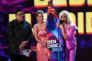 Rico Rodriguez, Candace Cameron-Bure and Bebe Rexha speak onstage during FOX's Teen Choice Awards at The Forum on August 12, 2018 in Inglewood, California.