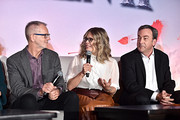 (L-R) Director Chris Buck, Director/writer/Walt Disney Animation Studios CCO Jennifer Lee and Producer Peter Del Vecho as seen at the FROZEN 2 Global Press Conference at W Hollywood on November 09, 2019 in Hollywood, California.