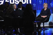 Journalist Jorge Ramos and democratic presidential candidate Hillary Rodham Clinton (R) pictured onstage during the FUSION presents the Brown & Black Democratic Forum at Drake University on January 11, 2016 in Des Moines, Iowa.