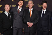 "(L-R) Writer / Producer .Simon Beaufoy, actors Harris Dickenson, Donald Sutherland and Michael Esper attend the FX Networks' ""Trust"" New York Screening at Florence Gould Hall on March 14, 2018 in New York City."