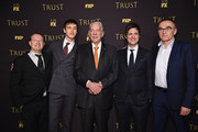 "(L-R) Writer / Producer .Simon Beaufoy, actors Harris Dickenson, Donald Sutherland and Michael Esper and director Danny Boyle attend the FX Networks' ""Trust"" New York Screening at Florence Gould Hall on March 14, 2018 in New York City."