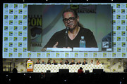(L-R) EW's Mandi Bierly, creator/executive producer Kurt Sutter, executive producer/director Paris Barclay, actors Katey Sagal, Kim Coates, Mark Boone Junior, Tommy Flanagan, Theo Rossi, Dayton Callie, David Labrava, Niko Nicotera and Drea de Matteo attend FX's 'Sons of Anarchy' panel during Comic-Con International 2014 at San Diego Convention Center on July 27, 2014 in San Diego, California.