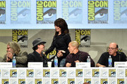 (L-R) Actors Mark Boone Junior, Tommy Flanagan, Katey Sagal, Theo Rossi and Dayton Callie attend FX's 'Sons of Anarchy' panel during Comic-Con International 2014 at San Diego Convention Center on July 27, 2014 in San Diego, California.