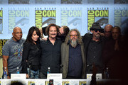 (L-R) Executive producer/director Paris Barclay, actors Katey Sagal, Kim Coates, creator/executive producer Kurt Sutter, actors Mark Boone Junior, Tommy Flanagan, Dayton Callie and Theo Rossi attend FX's 'Sons of Anarchy' panel during Comic-Con International 2014 at San Diego Convention Center on July 27, 2014 in San Diego, California.