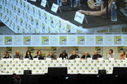 (L-R) Creator/executive producer Kurt Sutter, executive producer/director Paris Barclay, actors Katey Sagal, Kim Coates, Mark Boone Junior, Tommy Flanagan, Theo Rossi, Dayton Callie, David Labrava, Niko Nicotera and Drea de Matteo attend FX's 'Sons of Anarchy' panel during Comic-Con International 2014 at San Diego Convention Center on July 27, 2014 in San Diego, California.