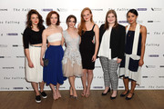 "(L-R) Actresses Katie Ann Knight, Morfydd Clark, Maisie Williams, Anna Burnett, Evie Hooton and Rose Caton attend the London gala screening of ""The Falling"" at Ham Yard Hotel on April 20, 2015 in London, England."
