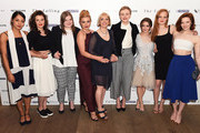 "(L-R) Actresses Rose Caton, Katie Ann Knight, Evie Hooton, Florence Pugh, director Carol Morley, actresses  Maxine Peake, Maisie Williams, Anna Burnett and Morfydd Clark attend the London gala screening of ""The Falling"" at Ham Yard Hotel on April 20, 2015 in London, England."