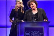 Actors Sarah Wright (L) and Dot-Marie Jones speak onstage during the Family Equality Council's 2015 Los Angeles Awards dinner at The Beverly Hilton Hotel on February 28, 2015 in Beverly Hills, California.
