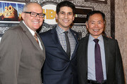 (L-R) Brad Altman, Family Equality .Council's executive director Gabriel Blau, and George Takei attend Family Equality Council's annual Los Angeles awards dinner at The Globe Theatre on February 8, 2014 in Universal City, California.