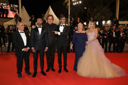 "Writer Amir Naderi, actor Michael B. Jordan, Michael Shannon, director Ramin Brahani, producer Sarah Green and actress Sofia Boutella attends the screening of ""Farenheit 451"" during the 71st annual Cannes Film Festival at Palais des Festivals on May 12, 2018 in Cannes, France."