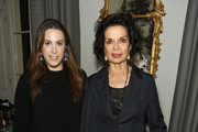 Mary Katrantzou and Bianca Jagger attend a welcome dinner hosted by Nadja Swarovski in anticipation of the Fashion Awards in partnership with Swarovski at The Arts Club on December 3, 2017 in London, England.