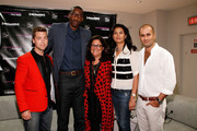 (L-R) Lance Bass, Amar'e Stoudemire, Fern Mallis, Sachin Ahluwalia, and Babi Ahluwalia attend Fashion's Night Out at Saks Fifth Avenue on September 6, 2012 in New York City.