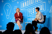 "Elizabeth Banks and Stephanie Mehta speak on stage at the ""Perfect Pitch: Elizabeth Banks on Hollywood, Feminism and Writing Her Own Script"" panel at the Fast Company Innovation Festival - Day 2 on November 06, 2019 in New York City."