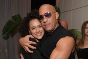 Nathalie Emmanuel and Vin Diesel attend the Fast & Furious F9 After Party at Kaido Miami on January 31, 2020 in Miami, Florida.