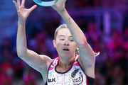Monica Falkner of New Zealand gathers the ball during the Fast5 World Series Netball match between New Zealand and England at Hisense Arena on October 28, 2017 in Melbourne, Australia.
