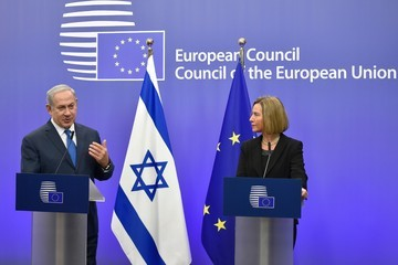 Federica Mogherini Israel's Prime Minister Benjamin Netanyahu Gives  a Joint Press Conference at the European Council in Brussels