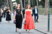 Zoey Deutch and Kiernan Shipka attend the Cocktail at Fendi Couture Fall Winter 2019/2020 on July 04, 2019 in Rome, Italy.