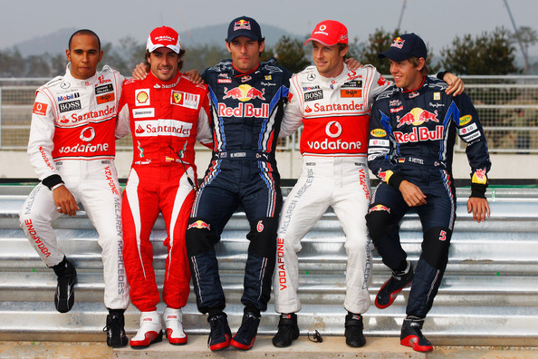 Fernando Alonso (L-R) F1 World Championship contenders Lewis Hamilton of Great Britain and McLaren Mercedes, Fernando Alonso of Spain and Ferrari, Mark Webber of Australia and Red Bull Racing, Jenson Button of Great Britain and McLaren Mercedes and Sebastian Vettel of Germany and Red Bull Racing pose for a photograph during previews to the Korean Formula One Grand Prix at the Korea International Circuit on October 21, 2010 in Yeongam-gun, South Korea.