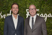 Leather Product Director for Salvatore Ferragamo Italia James Ferragamo (L) and architect William Sofield attend as Ferragamo Celebrates 100 Years in Hollywood at the newly unveiled Ferragamo boutique on September 9, 2015 in Beverly Hills, California.