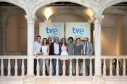 "Spanish actors (L-R) Raul Merida, Ursula Corbero, director Jordi Frades, Fernando Guillen Cuervo, Michelle Jenner, Rodolfo Sancho, Irene Escolar and Eusebio Poncela present ""Isabel"" 3th season at the Escoriaza Esquivel Palace during the FesTVal 2014 day 1 on September 1, 2014 in Vitoria-Gasteiz, Spain."