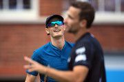 Jamie Murray of Great Britain speaks with Bruno Soares of Brazil during Day 4 of the Fever-Tree Championships at Queens Club on June 21, 2018 in London, United Kingdom.