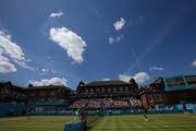 A general view of Centre Court as Jamie Murray of Great Britain speaks and Bruno Soares of Brazil take on Marcus Daniels of New Zealand and Wesley Koolhof of Netherlands during Day 4 of the Fever-Tree Championships at Queens Club on June 21, 2018 in London, United Kingdom.