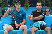 Jamie Murray of Great Britain and Bruno Soares of Brazil (R) during their doubles semi-final match against Oliver Marach of Austria and Mate Pavic of Croatia during day six of the Fever-Tree Championships at Queens Club on June 23, 2018 in London, United Kingdom.