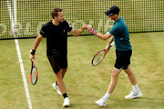 Bruno Soares of Brazil and Jamie Murray of Great Britain celebrate a point during their men's doubles semifinal match against Oliver Marach of Austria and Mate Pavic of Croatia on Day Six of the Fever-Tree Championships at Queens Club on June 23, 2018 in London, United Kingdom.