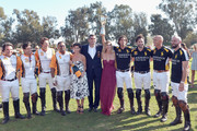 (L-R) Polo players Santiago Mendez, Marcos Llambias, Patrick Utretz, Bash Kazi, President of Veuve Clicquot USA Vanessa Kay, President of Veuve Clicquot Jean-Marc Gallot, Delfina Blaquier and polo players Nacho Figueras, Rico Mansur, Tom Barrack and TJ Barrack  attend the Fifth-Annual Veuve Clicquot Polo Classic at Will Rogers State Historic Park on October 11, 2014 in Pacific Palisades, California.