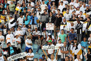 Fans Santos enters the field in Series A Brasileirao 2014 at Cafe Stadium on May 11, 2014 in Londrina, Brazil.