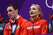 Aljona Savchenko and Bruno Massot of Germany react after their program during the Pair Skating Short Program on day five of the PyeongChang 2018 Winter Olympics at Gangneung Ice Arena on February 14, 2018 in Gangneung, South Korea.