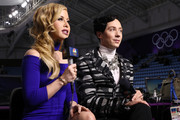 Figure skating announcers Tara Lipinski and Johnny Weir prepare for the start of the Pair Skating Short Program on day five of the PyeongChang 2018 Winter Olympics at Gangneung Ice Arena on February 14, 2018 in Gangneung, South Korea.