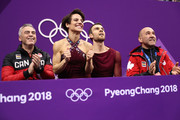 Meagan Duhamel and Eric Radford of Canada react after competing during the Pair Skating Free Skating at Gangneung Ice Arena on February 15, 2018 in Gangneung, South Korea.