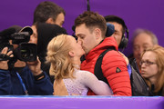Gold medal winner Aljona Savchenko of Germany celebrates during the victory ceremony after the Pair Skating Free Skating at Gangneung Ice Arena on February 15, 2018 in Gangneung, South Korea.