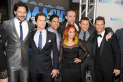 "(L-R) Actors Joe Manganiello, Matt Bomer, Adam Rodriguez, choreographer Teresa Espinosa, writer/producer Reid Carolin, actors Channing Tatum, and Matthew McConaughey arrive at the premiere of Warner Bros. Pictures' ""Magic Mike"" during the 2012 Los Angeles Film Festival at Regal Cinemas L.A. Live on June 24, 2012 in Los Angeles, California."