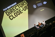(L-R) Glenn Kiser, Benh Zeitlin, and Dan Romer speak at Film Independent's Directors Close Up: Night 5 at the Landmark Theater on February 12, 2020 in Los Angeles, California.