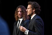 Uruguay's former forward Diego Forlan takes part in the 2018 FIFA World Cup football tournament final draw at the State Kremlin Palace in Moscow on December 1, 2017..The 2018 FIFA World Cup will be held between June 14 and July 15, 2018 in 11 Russian cities. / AFP PHOTO / Alexander NEMENOV