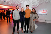 (L-R) Justin McLeod, Candace Bushnell, Matt Rogers and Sade Strehlke attend Fire TV Presents: Love on Screen Panel & Screening Event at Museum of Modern Love on October 11, 2019 in New York City.