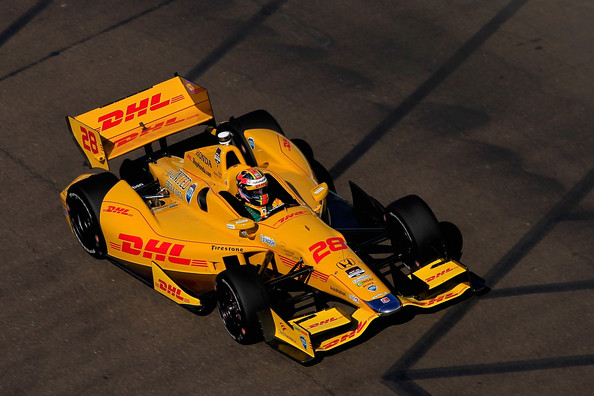Ryan Hunter-Reay driver of the #28 DHL Andretti Autosport Honta drives during a warm-up session for the Verizon IndyCar Series Firestone Grand Prix of St. Petersburg at the Streets of St. Petersburg on March 30, 2014 in St Petersburg, Florida.