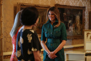 U.S. first lady Melania Trump and Japan's first lady Akie Abe are given a tour of the Flagler museum by Erin Manning (L), executive director of the Museum, on April 18, 2018 in Palm Beach, Florida. The first ladies accompanied their husbands U.S. President Donald Trump and Japan's Prime Minister Shinzo Abe to Palm Beach.