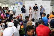 PGA golfer Ryan Moore addresses the attendees as CEO of The First Tee Keith Dawkins, actress Skai Jackson and Boomer Esiason look on at The First Tee Experience At The Northern Trust at Ridgewood Country Club on August 21, 2018 in Paramus, New Jersey.
