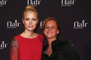 Jenny Falckenberg (R) and Franziska Knuppe (L)attend Flair Magazine Party at Pariser Platz 4  on January 15, 2013 in Berlin, Germany.