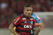 Paolo Guerrero of Flamengo runs with the ball during the match between Flamengo and Sao Paulo as part of Brasileirao Series A 2018 at Maracana Stadium on July 18, 2018 in Rio de Janeiro, Brazil.